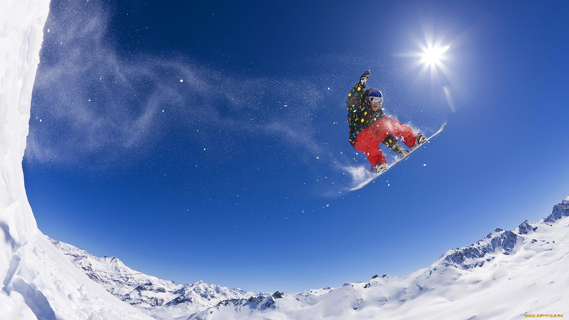 Фото сноубордиста в полете
